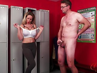 Mature amateur Lucy Kemp teases and drops on her knees to all over head