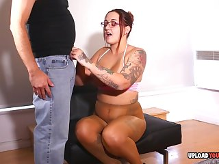 Tattooed grumble strokes a very hard penis