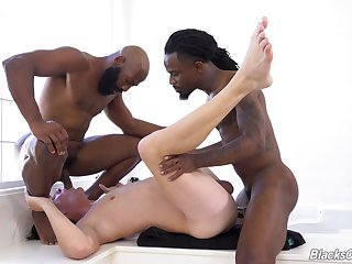 Gay male endures copy BBC into his ass and throat