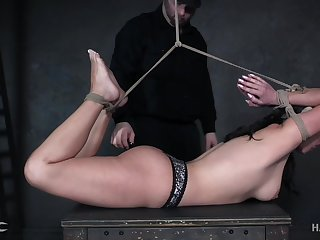Babe is bound hogtied whipped and punished like not in the least before