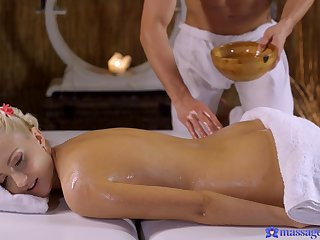Horny guy seduces the hot fair-haired with an erotic massage