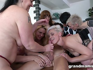 Boy has a bevy of old, horny broads eager to realize fucked hard