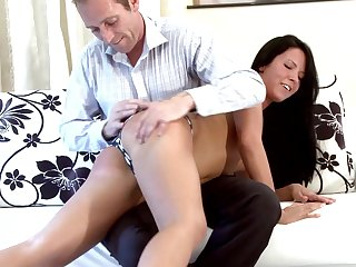 Guileful brunette Jane F. gets undressed and spanked by her skillful