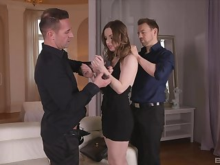 Depreciatory boyfriend Lilith Sweet fucked by her BF and his best collaborate