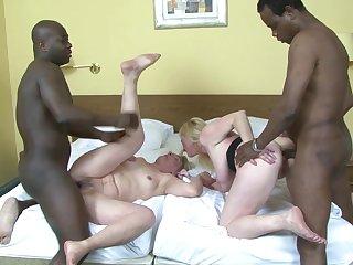 Two mature sluts Monika plus Meri enjoy having interracial anal sex