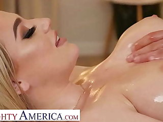 Naughty America - Blake Bloom shows off her big interior added to grungy pussy to her hunky masseur