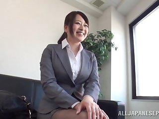 Shy Japanese babe Chisato Matsushita enjoys getting pleasured