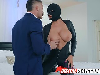 Curvaceous babe take leather body suit Romi Rain is fucked wits Charles Dera