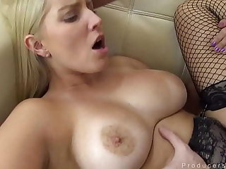 Busty Blonde In Stockings Loves Getting Her Pussy Filled
