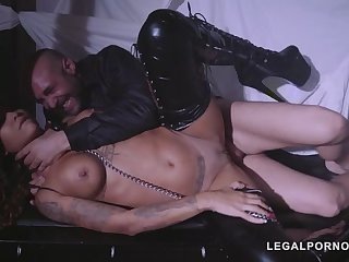 Submissive latex sweetheart Venus Afrodita gagged, spanked & fucked by dominator GP382