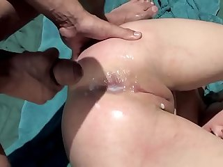 Tory gets her ass and pussy penetrated apart from two guys while her friend licks her nipples