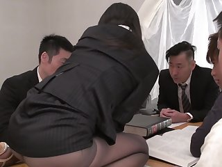 Horny Japanese disrupts meeting to supervise surrounding co-workers' cocks