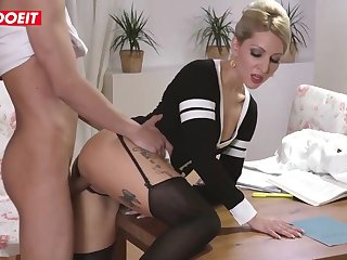 Inked blond step mommy is getting her step son's enormous knob deep in her muff