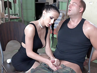 Sexy brunette play apropos detect of military