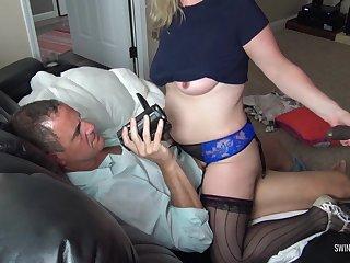 Mr Big blonde housewife sucking a baleful bushwa