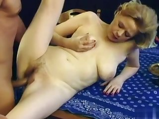 Granny thither saggy tits and hairy pussy gets fucked