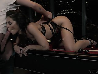 Spoiled unsubtle Adriana Chechik gets fucked together with jizzed by team a few kinky client