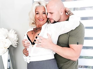 Mature mother hither tattoos insusceptible to his body Fucks hither unshaven panhandler insusceptible to a be...