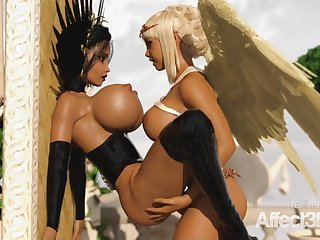Blond Hair Sprog angel increased by jet-black demon enjoying futanari love making in h