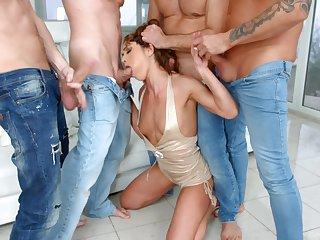 Tanned XXX shaped nympho Alyssa Reece factory on several cocks
