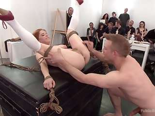 Cum shower for kinky redhead Penny Pax after gangbang pangs