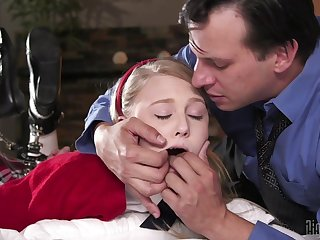 Improper BDSM fuck for young Lily Rader and a much older gent
