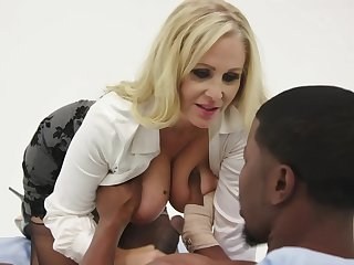 Julia Ann is having steamy sex with a black man, instead be advantageous to rendition their way job